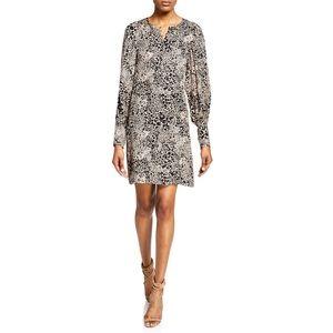 New! REBECCA TAYLOR Leopard-Print Silk Dress